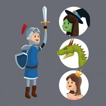 Cavaleiro espada escudo princesa dragão bruxa