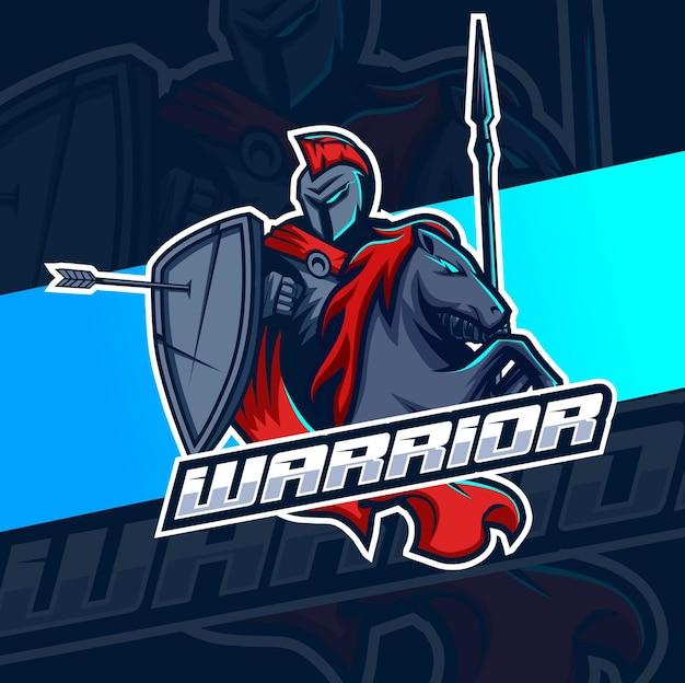 Cavaleiro guerreiro com mascote de cavalo esport para design de logotipo de jogos e esportes