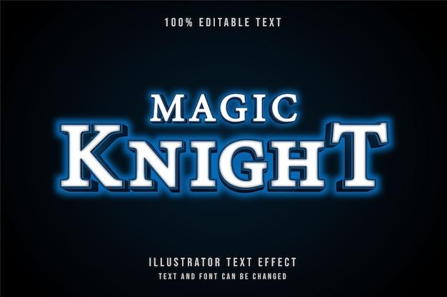 Cavaleiro mágico 3d com efeito de texto editável gradação azul estilo neon moderno