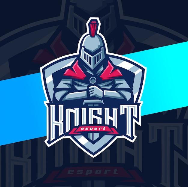 Cavaleiro mascote esport design de logotipo