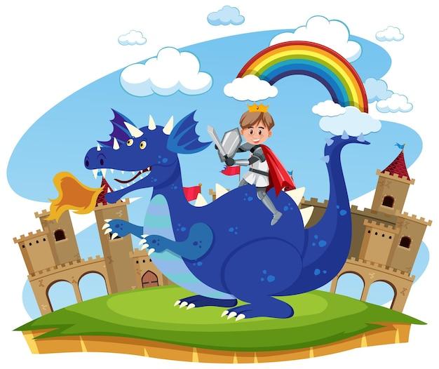 Cavaleiro medieval cavalgando dragão