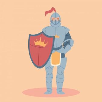 Cavaleiro medieval em armadura, traje de cavaleiro