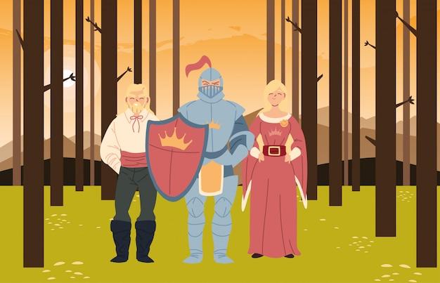 Cavaleiro medieval mulher e príncipe no design da floresta do reino e conto de fadas