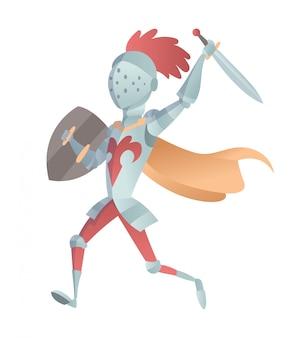 Cavaleiro medieval na ilustração plana de armadura completa. a caricatura cômica. cavaleiro engraçado dos desenhos animados.