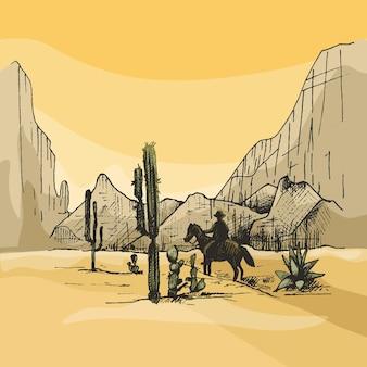 Cavaleiro mexicano cavalga em montanhas de panorama de fundo e deserto.