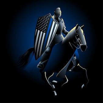Cavaleiro montado carregando escudo com bandeira dos eua de linha azul fina.
