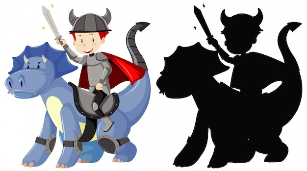 Cavaleiro montando dragão bonito com espada na cor e silhueta