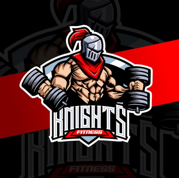 Cavaleiro muscular treino fitness mascote esport logotipo