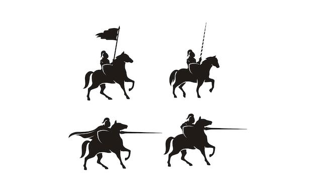 Cavaleiro no design de logotipo de cavalo