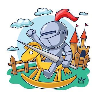 Cavaleiro pequeno, montando um cavalo de madeira