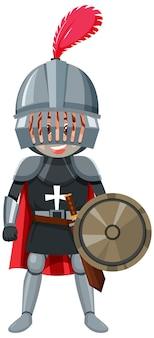 Cavaleiro personagem de desenho animado em fundo branco