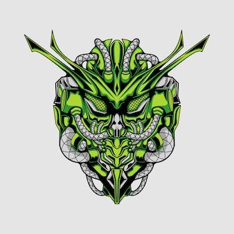 Cavaleiro robô ciborgue verde