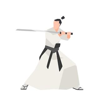Cavaleiro samurai isolado no branco