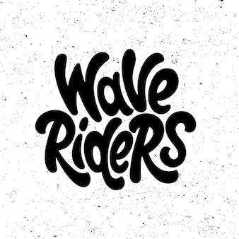 Cavaleiros das ondas. gráficos de citações de surf, logotipos, etiquetas e emblemas. ilustração vetorial