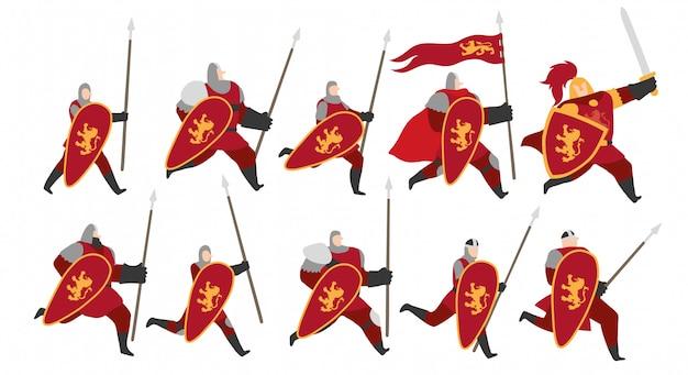Cavaleiros do conjunto de caracteres leão de ouro