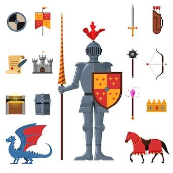 Cavaleiros do reino medieval conjunto de ícones plana