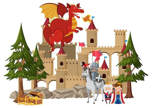 Cavaleiros lutam com dragão no castelo