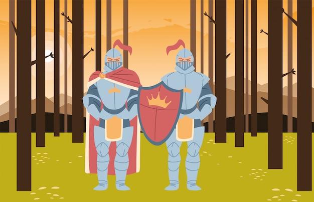 Cavaleiros medievais com armaduras e no design florestal do reino e conto de fadas