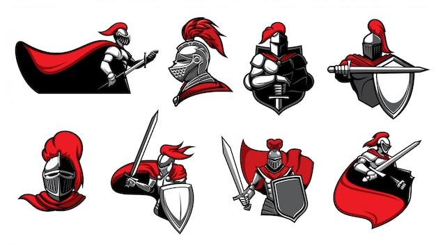 Cavaleiros medievais com ícones de espadas