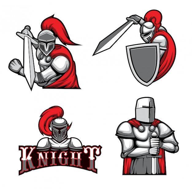 Cavaleiros medievais, guerreiros mascotes heráldicos