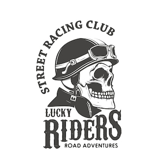 Cavaleiros sortudos. clube de corrida de rua. crânio no capacete do piloto.
