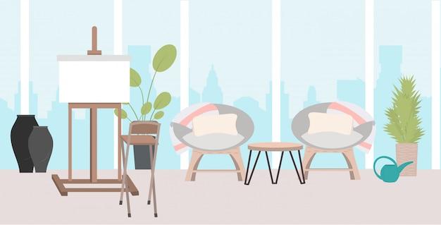 Cavalete com tela em branco vazio moderno escritório sala de estar ou estúdio de arte criativa interior horizontal