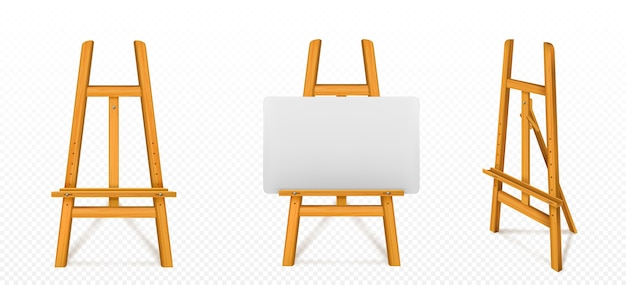 Cavalete de madeira com tela branca na frente e ângulo de visão