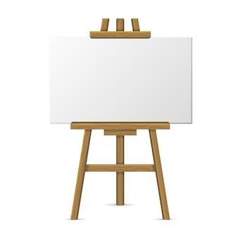 Cavalete de madeira com tela em branco sobre fundo branco.