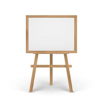 Cavalete de madeira marrom sienna art board com tela vazia em branco horizontal