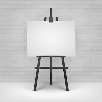 Cavalete de madeira preta com tela horizontal em branco