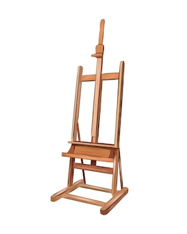 Cavalete para pintura de tintas multicoloridas respingo de aquarela colorido desenho realista