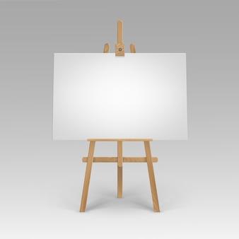 Cavalete sienna marrom de madeira com tela horizontal em branco vazia