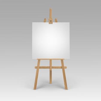 Cavalete sienna marrom de madeira com tela quadrada em branco vazia