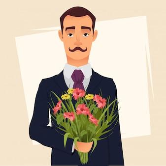 Cavalheiro bonito de terno com um buquê de flores silvestres