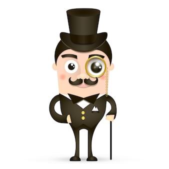 Cavalheiro britânico vintage com chapéu