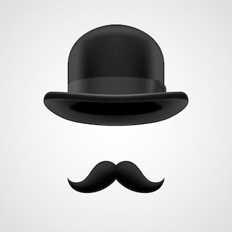 Cavalheiro chefe com bigode e ilustração de chapéu-coco