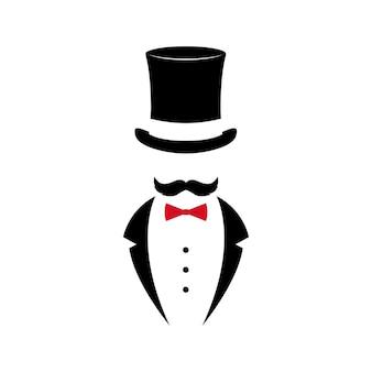 Cavalheiro com bigode de smoking e chapéu vintage