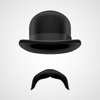 Cavalheiro engraçado com bigode e chapéu-coco