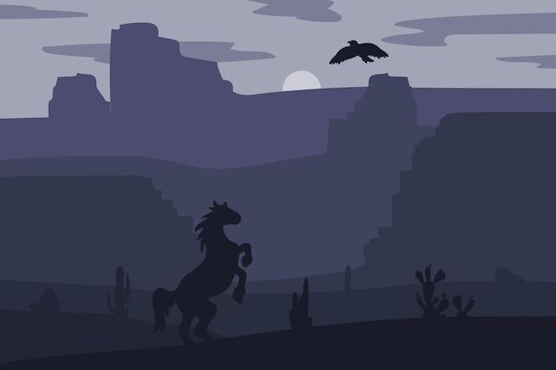 Cavalo a galope do velho oeste selvagem no deserto. pôr do sol vintage na pradaria com mustang, cactos e águia no céu. noite do oeste. paisagem natural para impressão, cartaz, ilustração, adesivo. vetor
