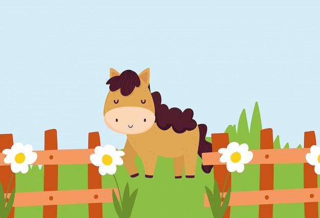 Cavalo atrás da cerca com flores grama fazenda animal cartoon ilustração