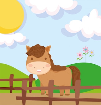 Cavalo atrás dos animais de fazenda de campo de cerca de madeira