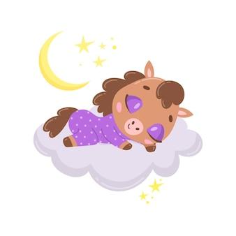 Cavalo bonito dos desenhos animados dormindo numa nuvem.