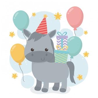 Cavalo bonito na cena da festa de aniversário