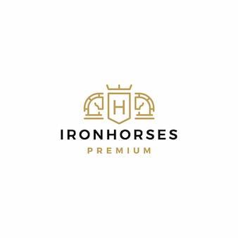 Cavalo brasão de armas logo vector icon ilustração