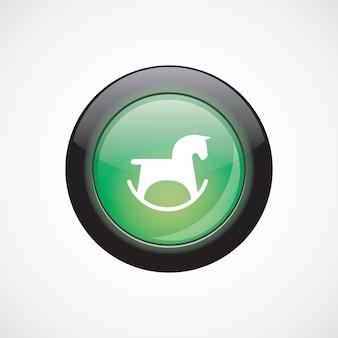 Cavalo brinquedo vidro sinal ícone verde botão brilhante. botão do site da interface do usuário