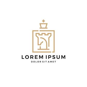 Cavalo cavaleiro torre forte rei xadrez logotipo