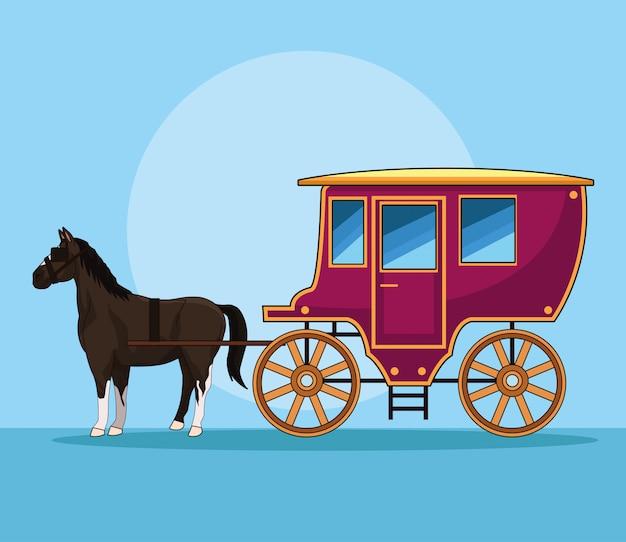 Cavalo com veículo antigo de carruagem