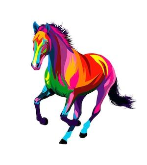 Cavalo correndo a galope de tintas multicoloridas respingo de aquarela colorida desenho realista