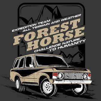 Cavalo da floresta, ilustração de carro de aventura offroad