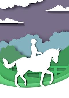 Cavalo de adestramento e silhuetas de cavaleiro vector a ilustração em papel arte estilo esporte equestre horseba ...